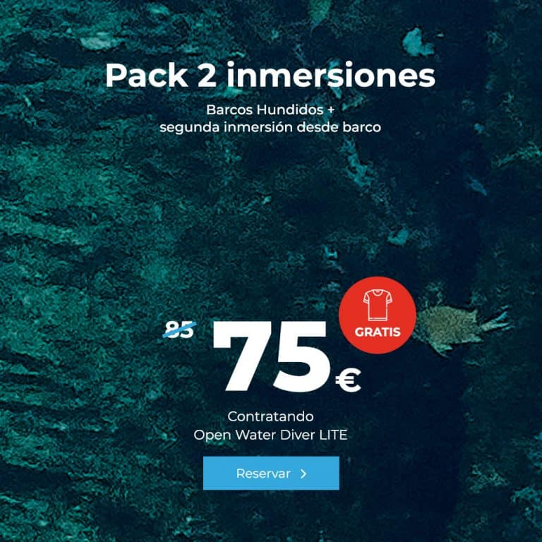 oferta pack 2 inmersiones barcos hundidos