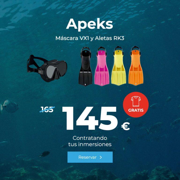 oferta apeks mascara vx1 y aletas rk3